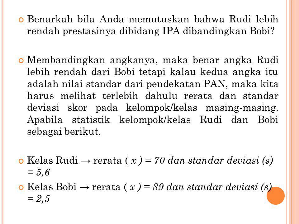 Benarkah bila Anda memutuskan bahwa Rudi lebih rendah prestasinya dibidang IPA dibandingkan Bobi