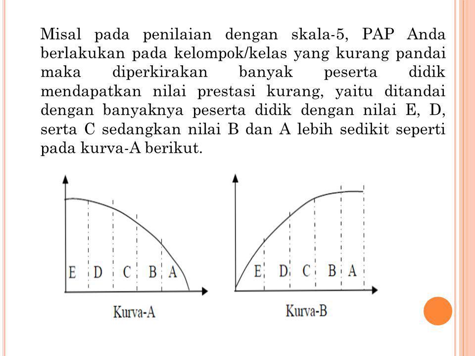 Misal pada penilaian dengan skala-5, PAP Anda berlakukan pada kelompok/kelas yang kurang pandai maka diperkirakan banyak peserta didik mendapatkan nilai prestasi kurang, yaitu ditandai dengan banyaknya peserta didik dengan nilai E, D, serta C sedangkan nilai B dan A lebih sedikit seperti pada kurva-A berikut.