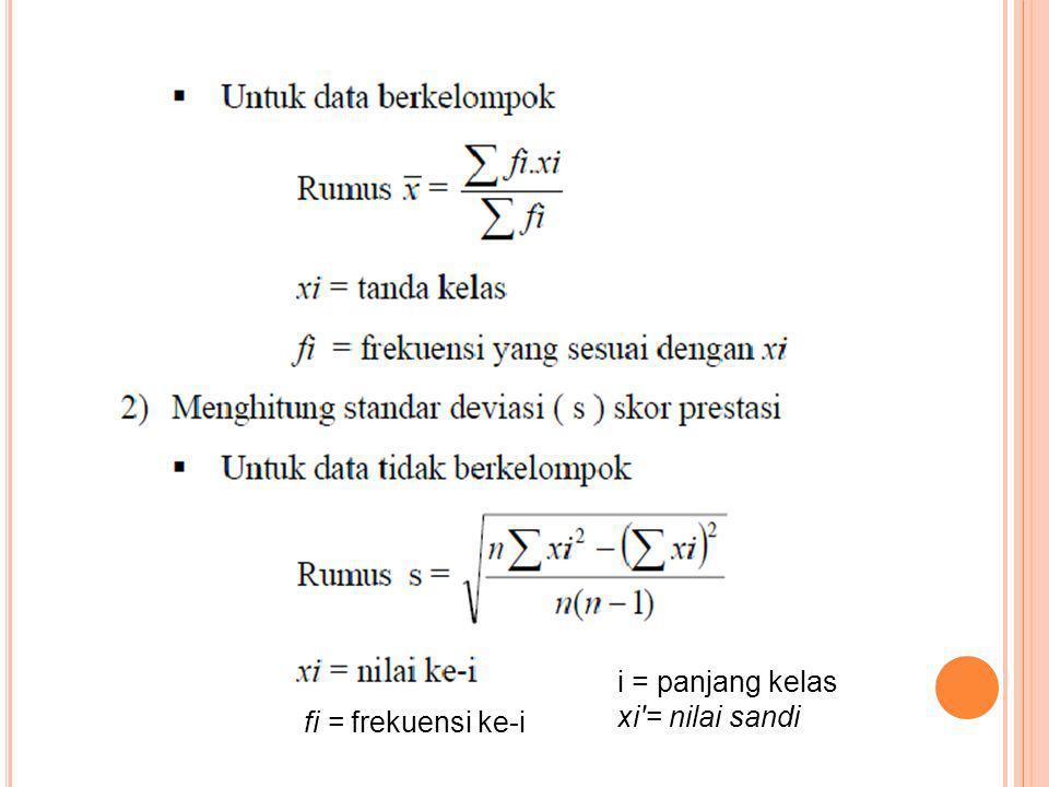 i = panjang kelas xi = nilai sandi fi = frekuensi ke-i