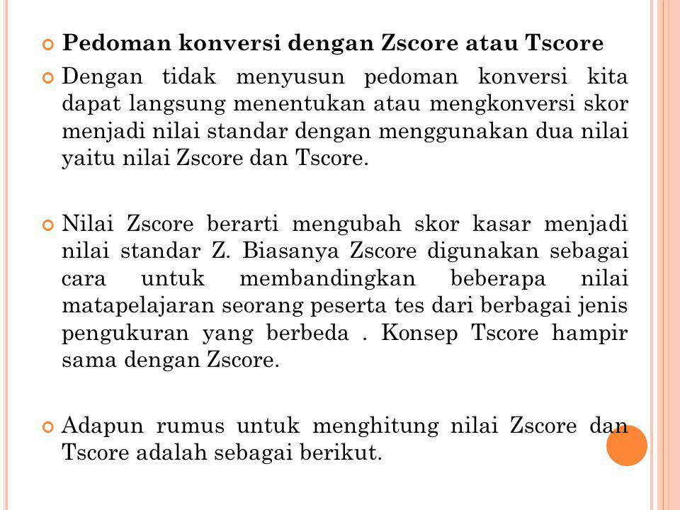 Pedoman konversi dengan Zscore atau Tscore