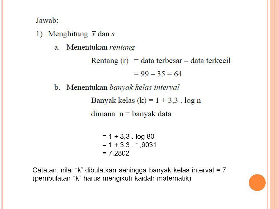 = 1 + 3,3 . log 80 = 1 + 3,3 . 1,9031. = 7,2802.