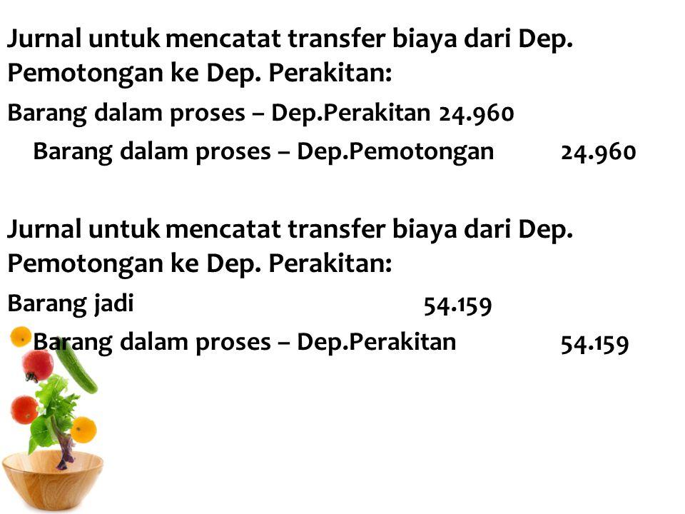 Jurnal untuk mencatat transfer biaya dari Dep. Pemotongan ke Dep