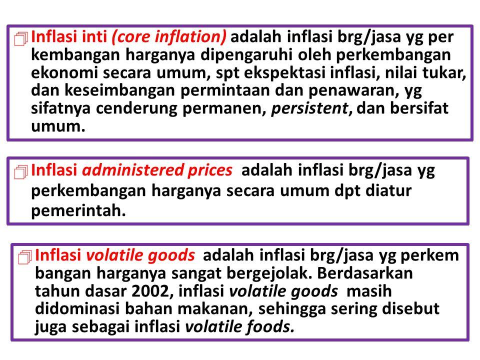 Inflasi inti (core inflation) adalah inflasi brg/jasa yg per kembangan harganya dipengaruhi oleh perkembangan ekonomi secara umum, spt ekspektasi inflasi, nilai tukar, dan keseimbangan permintaan dan penawaran, yg sifatnya cenderung permanen, persistent, dan bersifat umum.