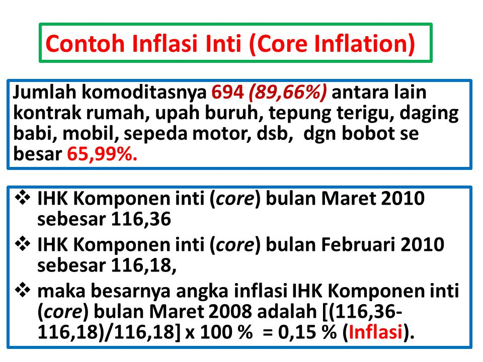 Contoh Inflasi Inti (Core Inflation)