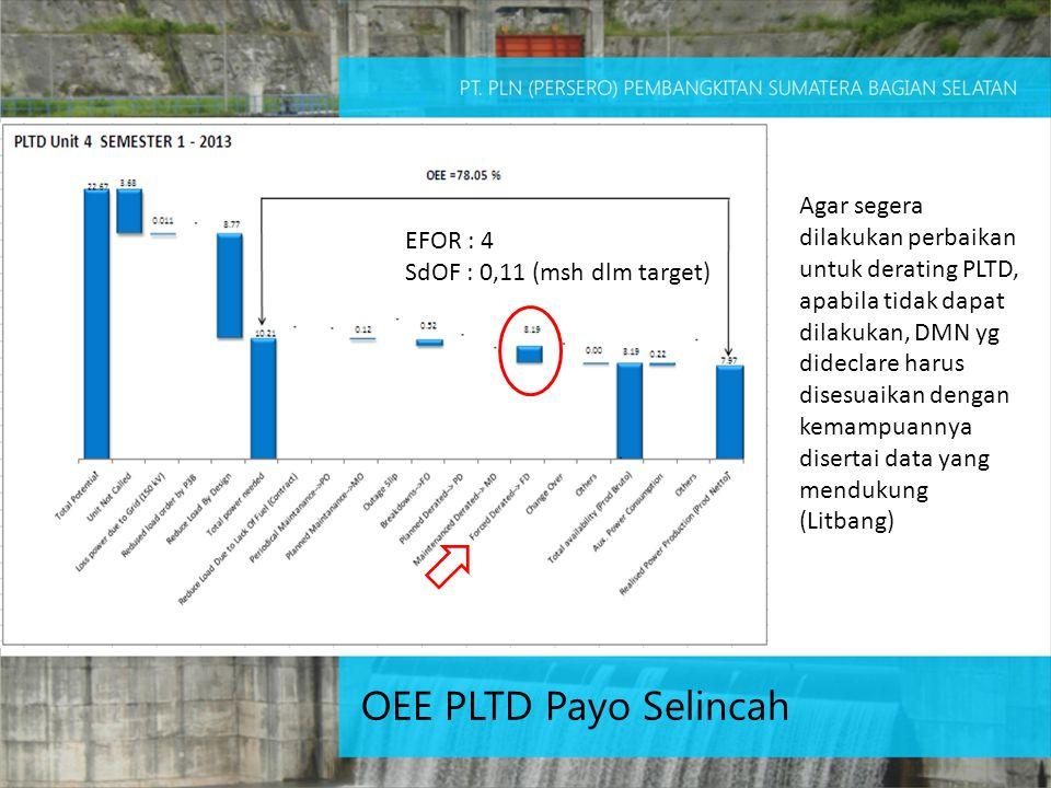 Agar segera dilakukan perbaikan untuk derating PLTD, apabila tidak dapat dilakukan, DMN yg dideclare harus disesuaikan dengan kemampuannya disertai data yang mendukung (Litbang)