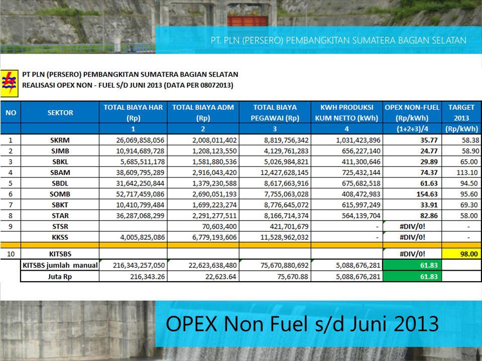 OPEX Non Fuel s/d Juni 2013