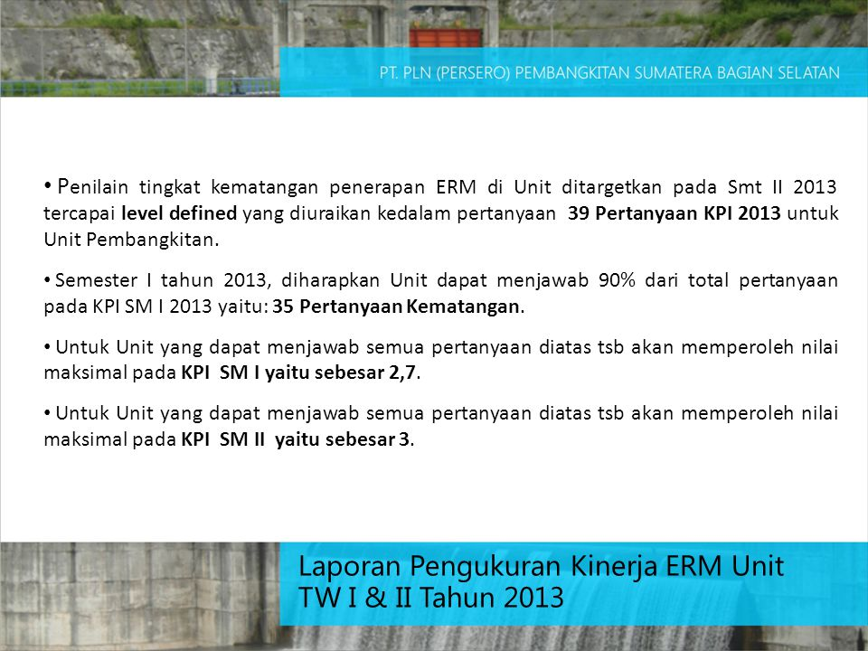 Laporan Pengukuran Kinerja ERM Unit TW I & II Tahun 2013