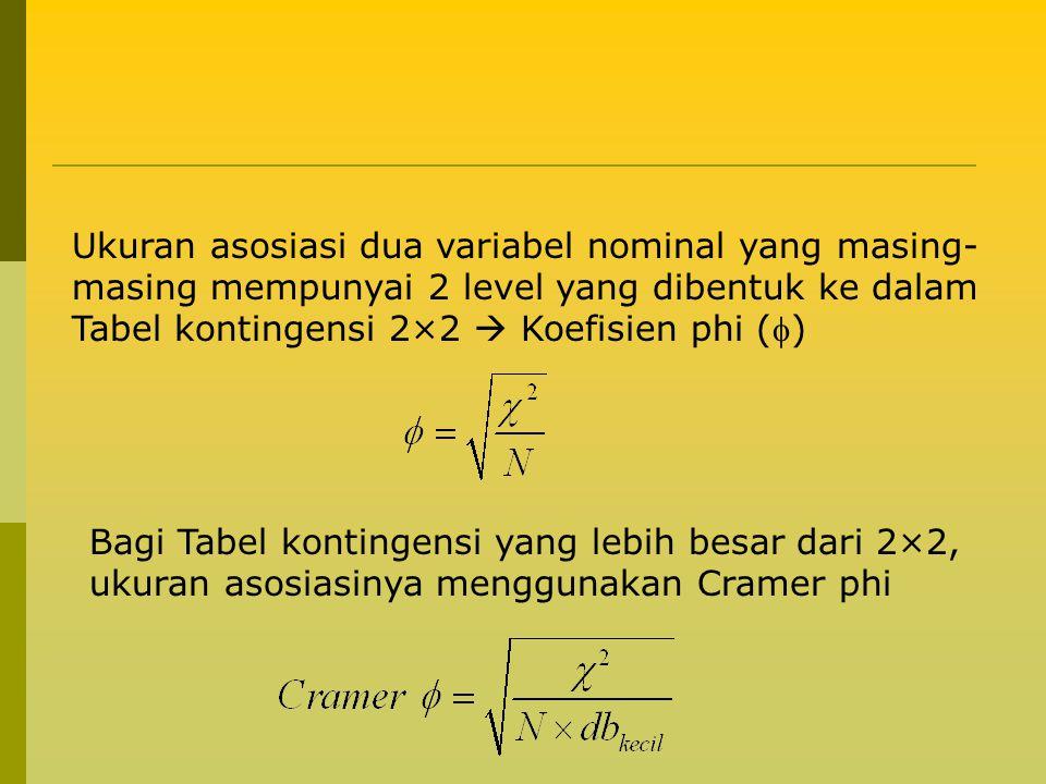 Ukuran asosiasi dua variabel nominal yang masing-masing mempunyai 2 level yang dibentuk ke dalam Tabel kontingensi 2×2  Koefisien phi ()