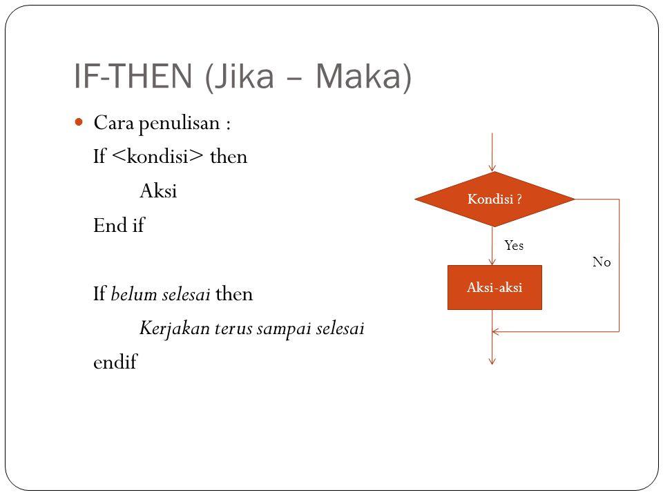IF-THEN (Jika – Maka) Cara penulisan : If <kondisi> then Aksi