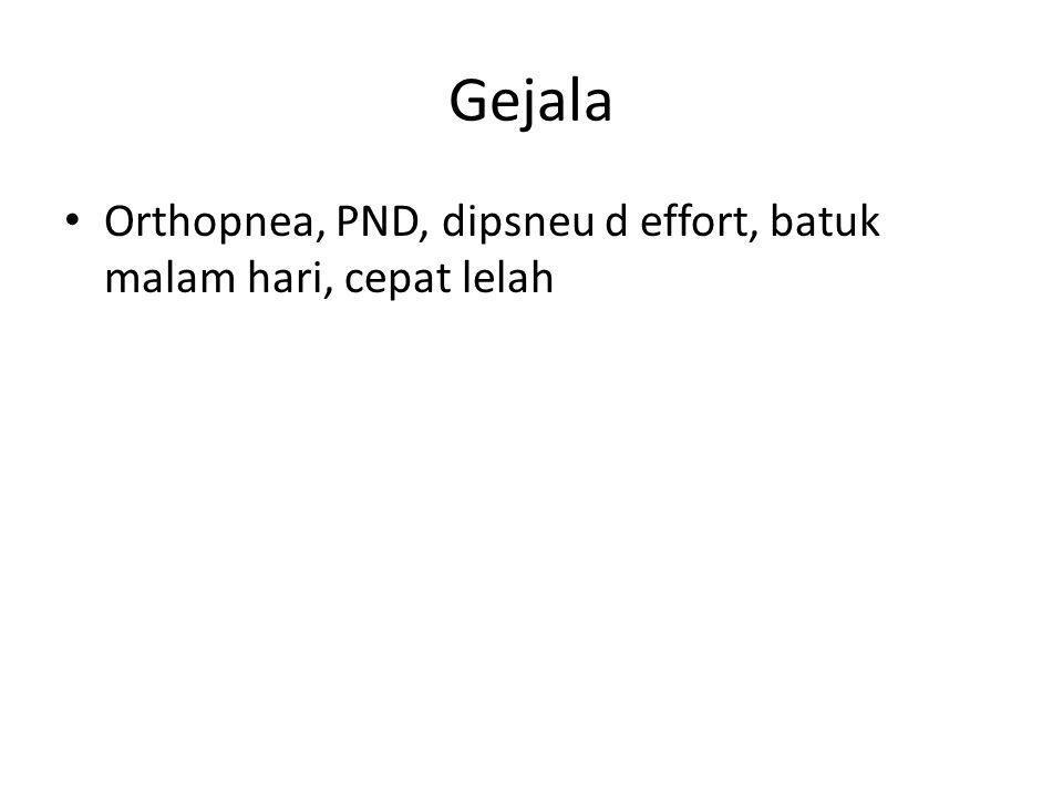 Gejala Orthopnea, PND, dipsneu d effort, batuk malam hari, cepat lelah