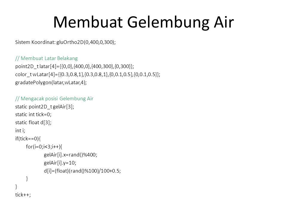 Membuat Gelembung Air Sistem Koordinat: gluOrtho2D(0,400,0,300);