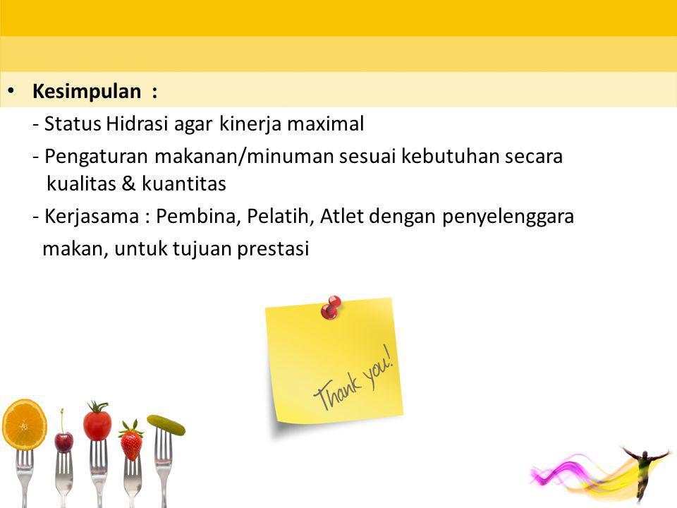Kesimpulan : - Status Hidrasi agar kinerja maximal. - Pengaturan makanan/minuman sesuai kebutuhan secara kualitas & kuantitas.