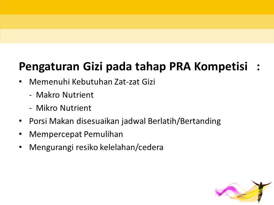 Pengaturan Gizi pada tahap PRA Kompetisi :