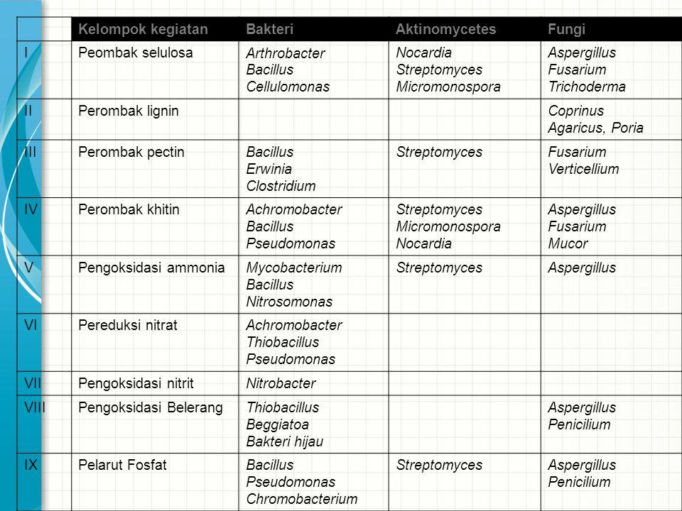 Kelompok kegiatan Bakteri. Aktinomycetes. Fungi. I. Peombak selulosa. Arthrobacter. Bacillus.
