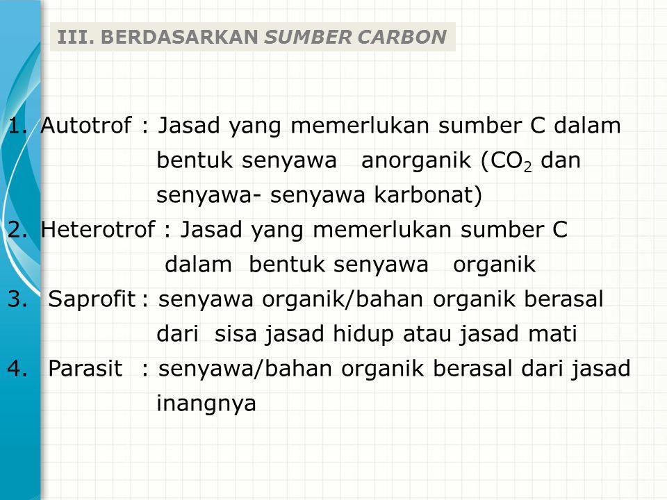 Autotrof : Jasad yang memerlukan sumber C dalam