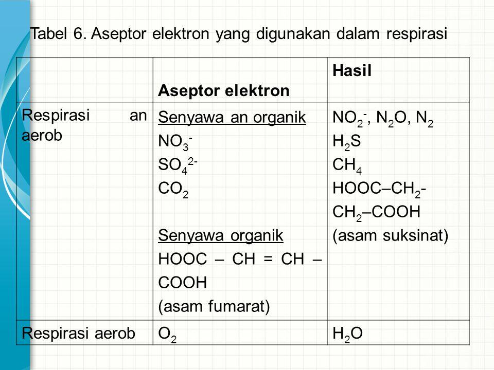 Tabel 6. Aseptor elektron yang digunakan dalam respirasi