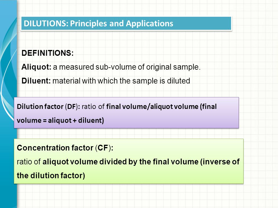 DILUTIONS: Principles and Applications