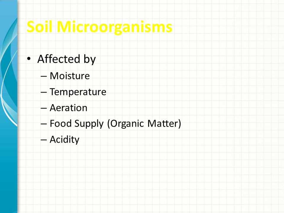 Soil Microorganisms Affected by Moisture Temperature Aeration