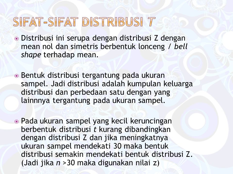 Sifat-sifat distribusi t