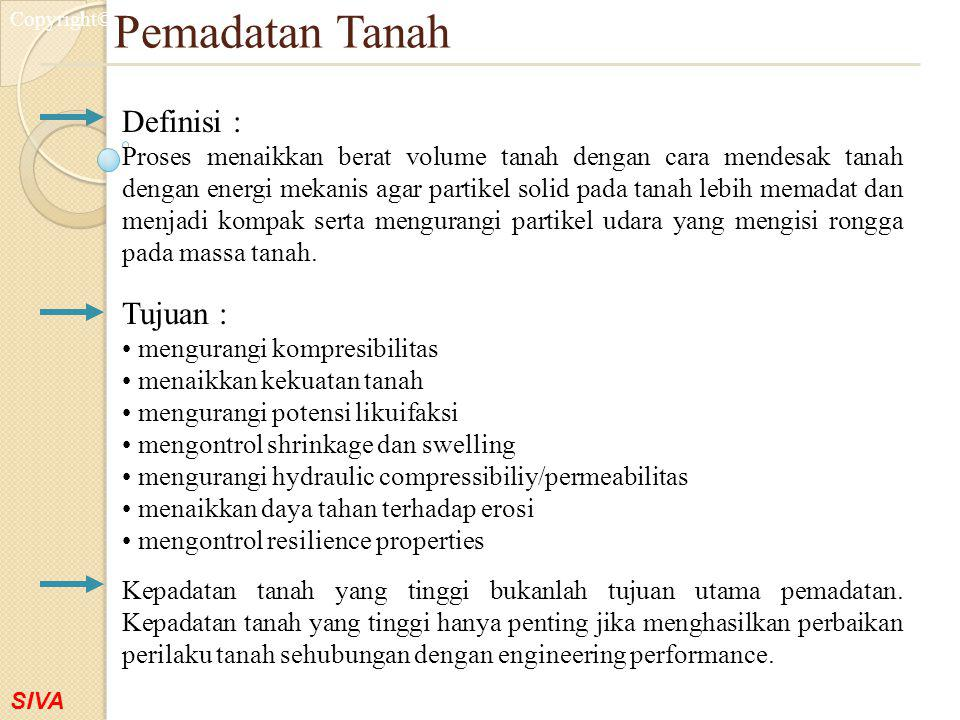 Pemadatan Tanah Definisi : Tujuan :