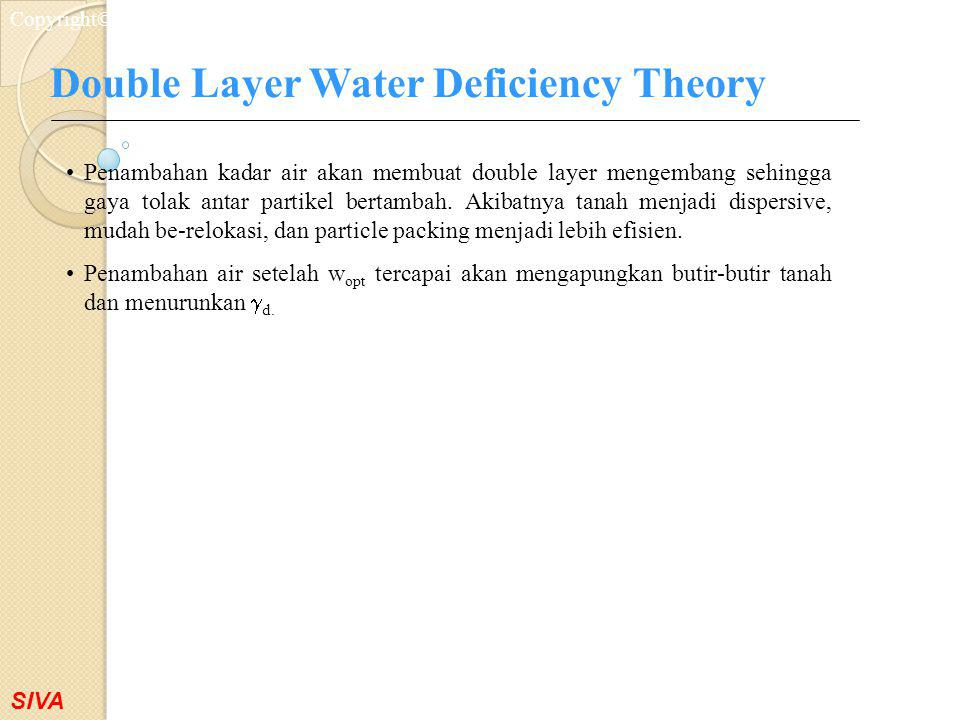 Double Layer Water Deficiency Theory