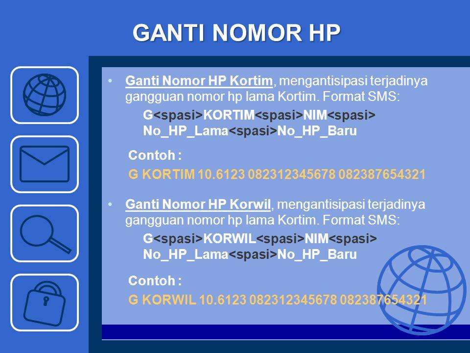 GANTI NOMOR HP Ganti Nomor HP Kortim, mengantisipasi terjadinya gangguan nomor hp lama Kortim. Format SMS: