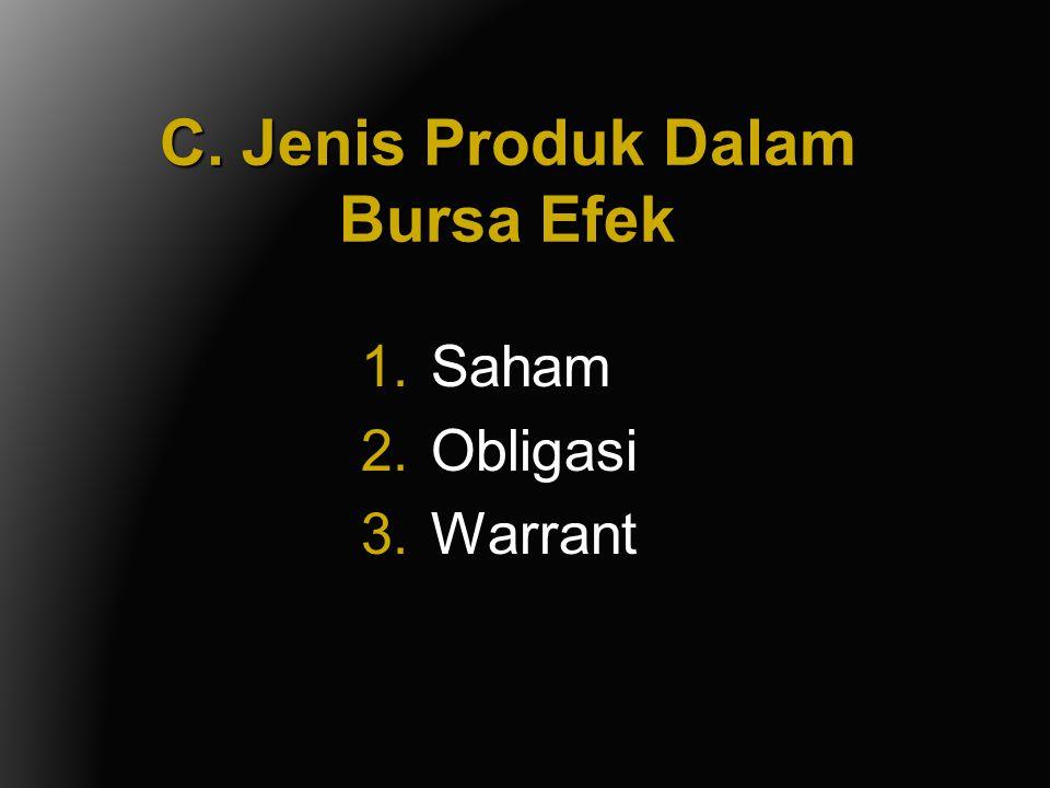 C. Jenis Produk Dalam Bursa Efek