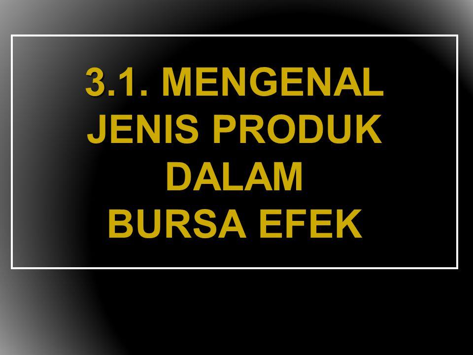 3.1. MENGENAL JENIS PRODUK DALAM BURSA EFEK