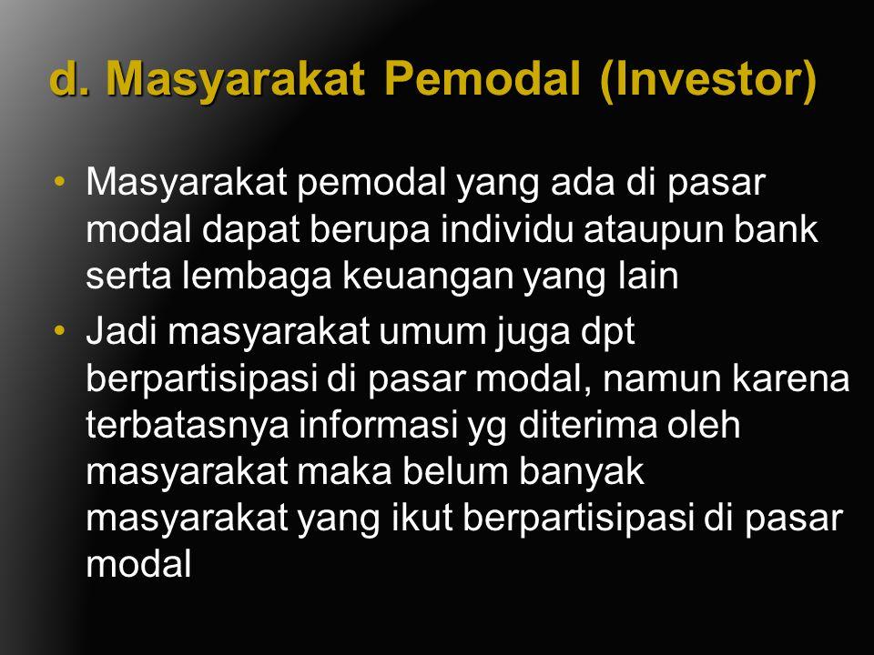 d. Masyarakat Pemodal (Investor)