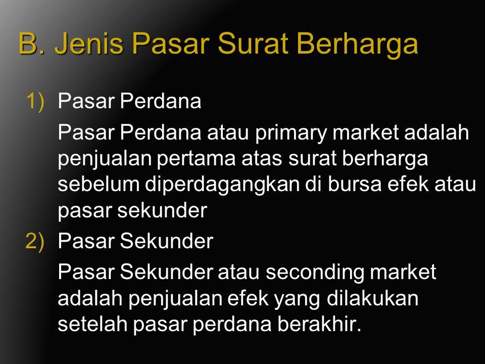 B. Jenis Pasar Surat Berharga