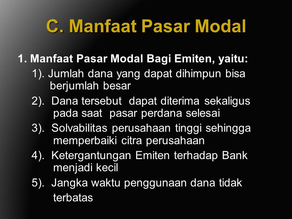 C. Manfaat Pasar Modal