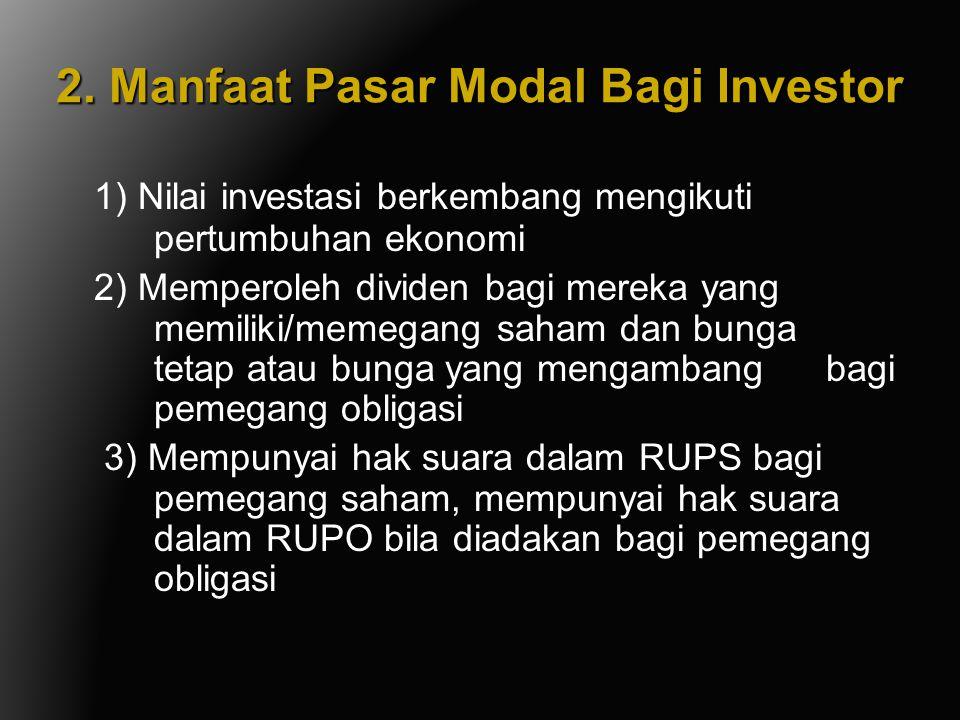 2. Manfaat Pasar Modal Bagi Investor