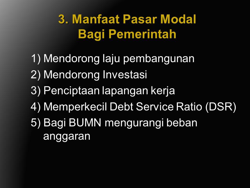 3. Manfaat Pasar Modal Bagi Pemerintah