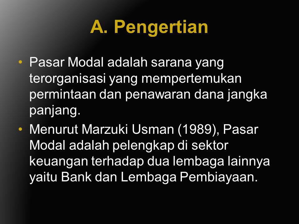 A. Pengertian Pasar Modal adalah sarana yang terorganisasi yang mempertemukan permintaan dan penawaran dana jangka panjang.
