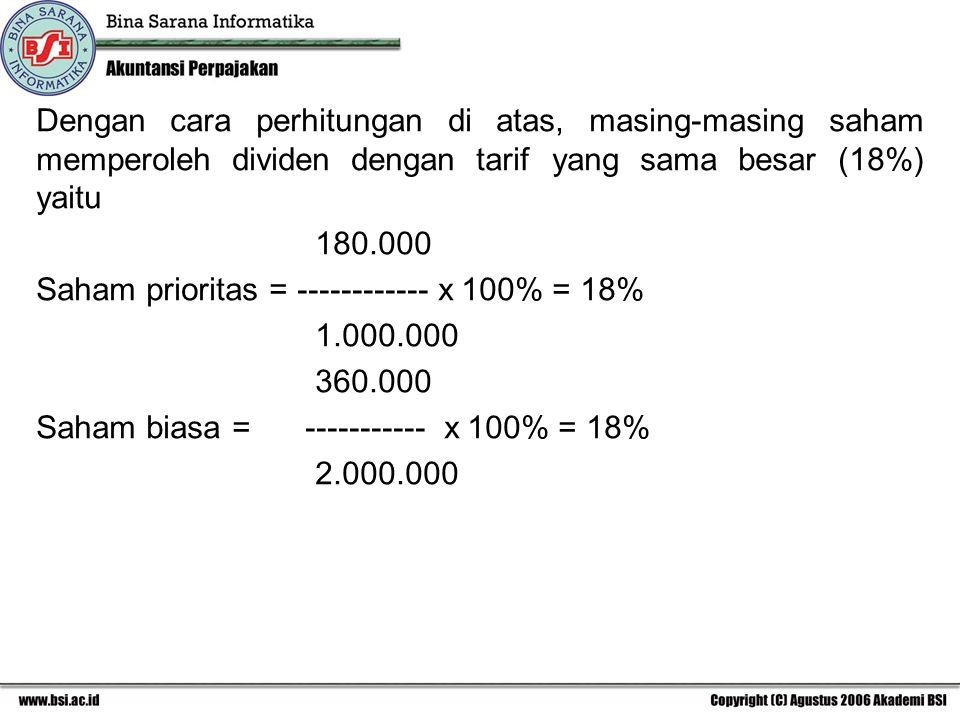 Dengan cara perhitungan di atas, masing-masing saham memperoleh dividen dengan tarif yang sama besar (18%) yaitu