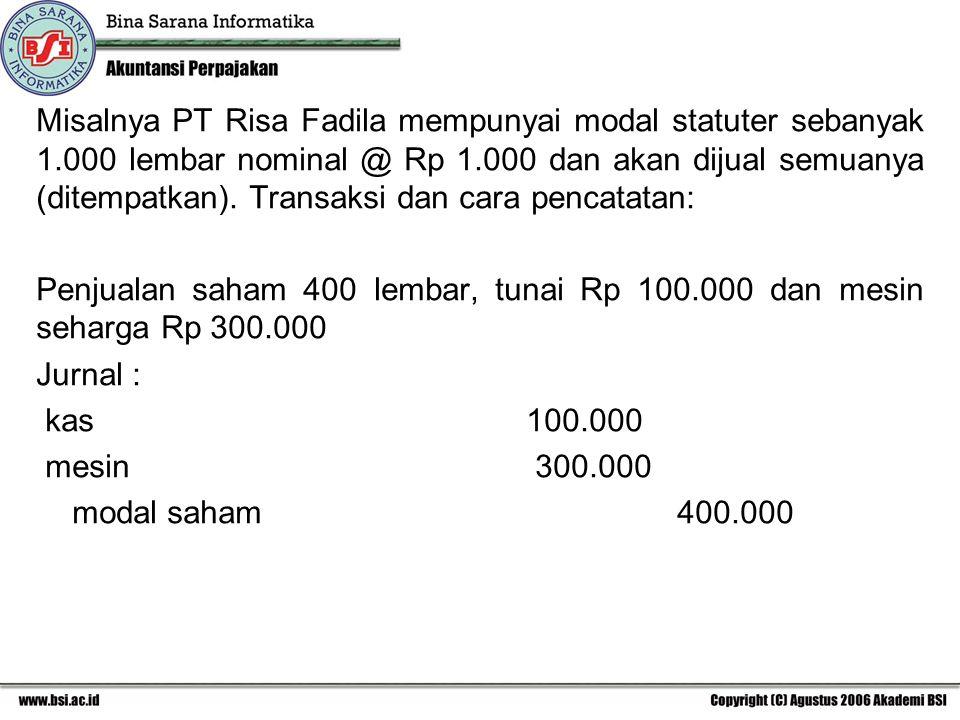 Misalnya PT Risa Fadila mempunyai modal statuter sebanyak 1