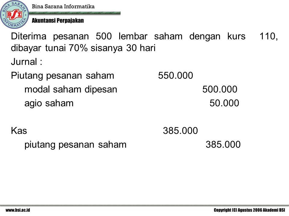 Diterima pesanan 500 lembar saham dengan kurs 110, dibayar tunai 70% sisanya 30 hari