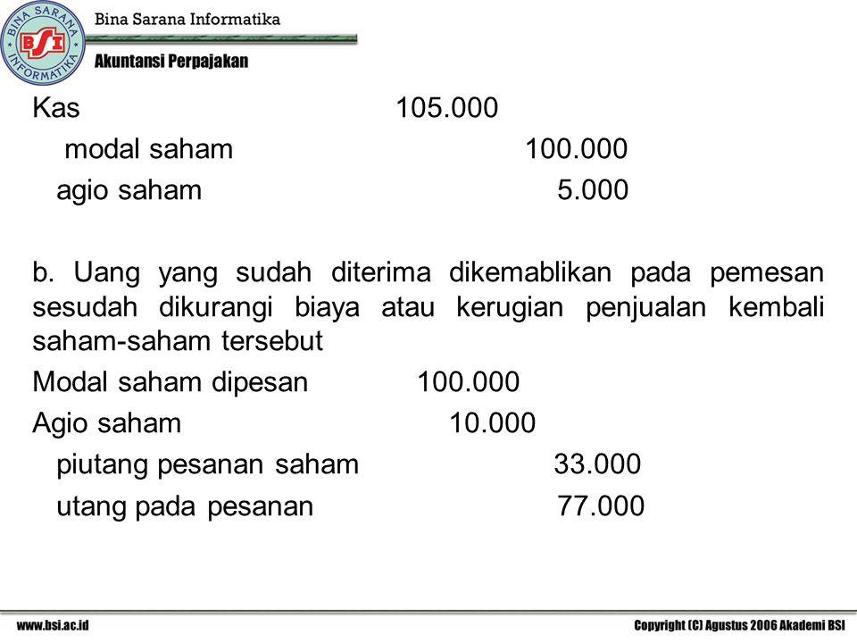 Kas 105.000 modal saham 100.000.