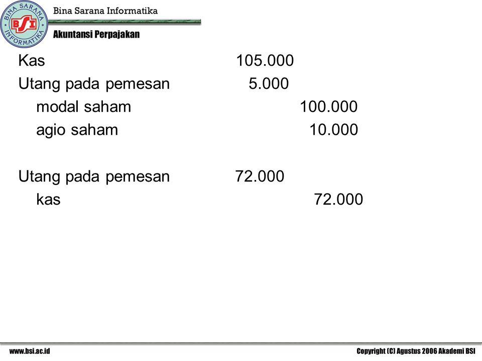 Kas 105.000 Utang pada pemesan 5.000.