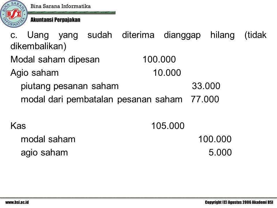 c. Uang yang sudah diterima dianggap hilang (tidak dikembalikan)
