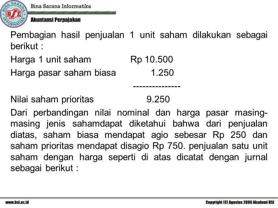 Pembagian hasil penjualan 1 unit saham dilakukan sebagai berikut :