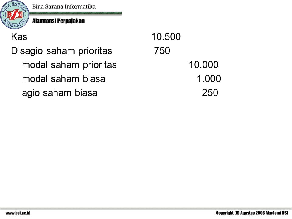 Kas 10.500 Disagio saham prioritas 750.