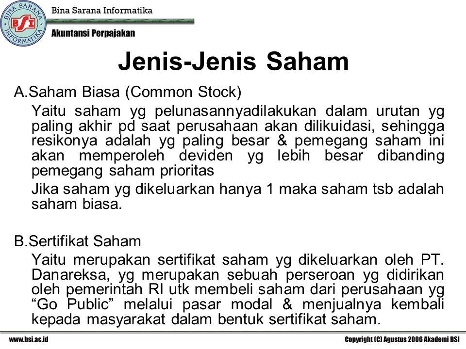 Jenis-Jenis Saham A.Saham Biasa (Common Stock)