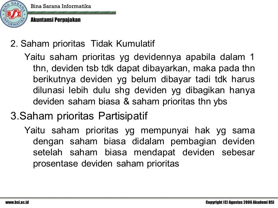 3.Saham prioritas Partisipatif