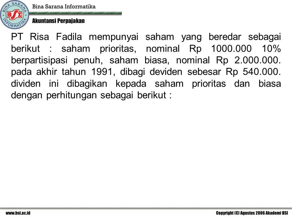 PT Risa Fadila mempunyai saham yang beredar sebagai berikut : saham prioritas, nominal Rp 1000.000 10% berpartisipasi penuh, saham biasa, nominal Rp 2.000.000.
