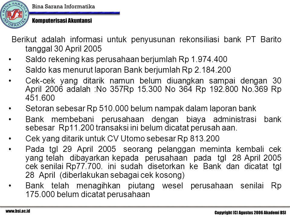 Berikut adalah informasi untuk penyusunan rekonsiliasi bank PT Barito tanggal 30 April 2005