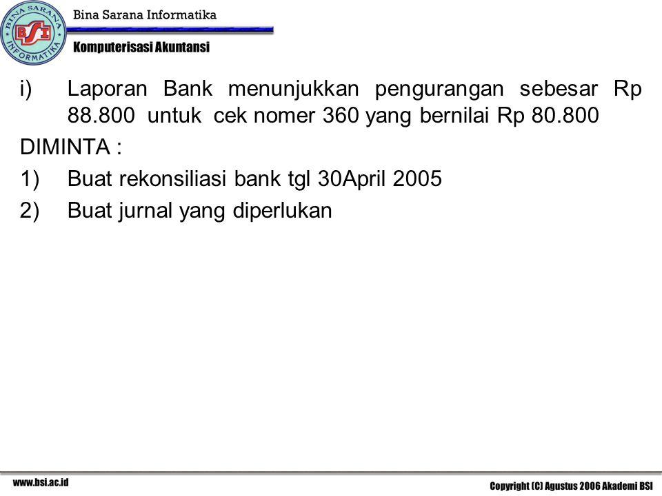 Laporan Bank menunjukkan pengurangan sebesar Rp 88