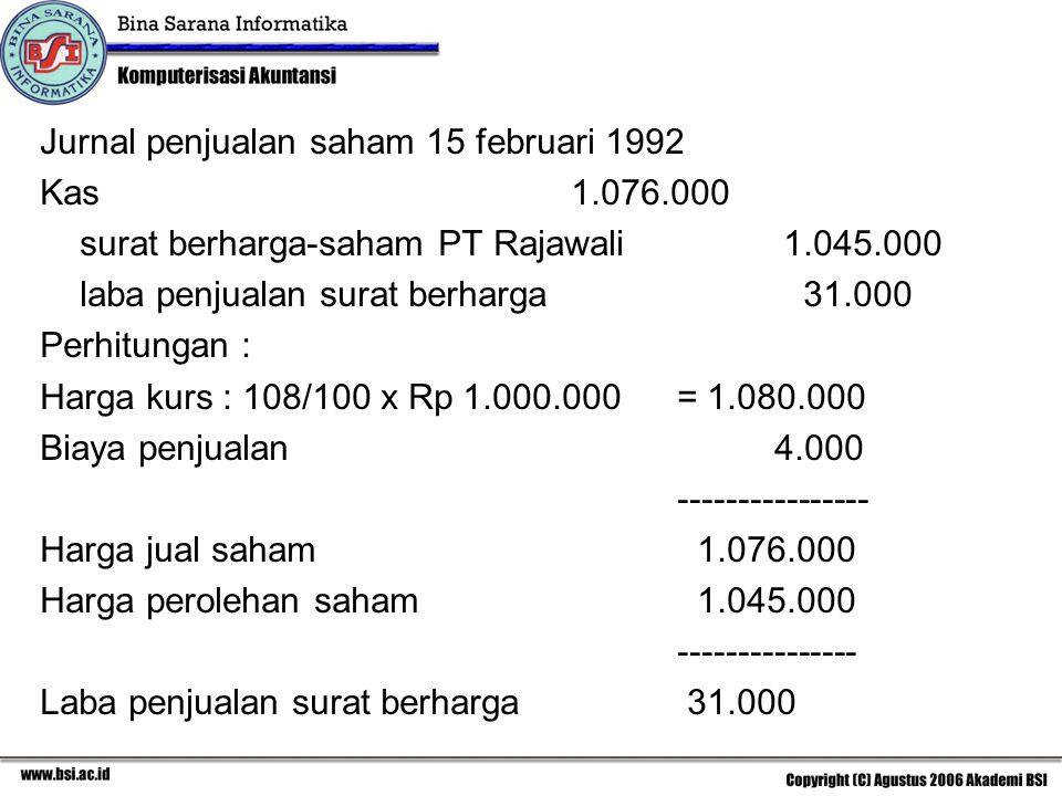 Jurnal penjualan saham 15 februari 1992