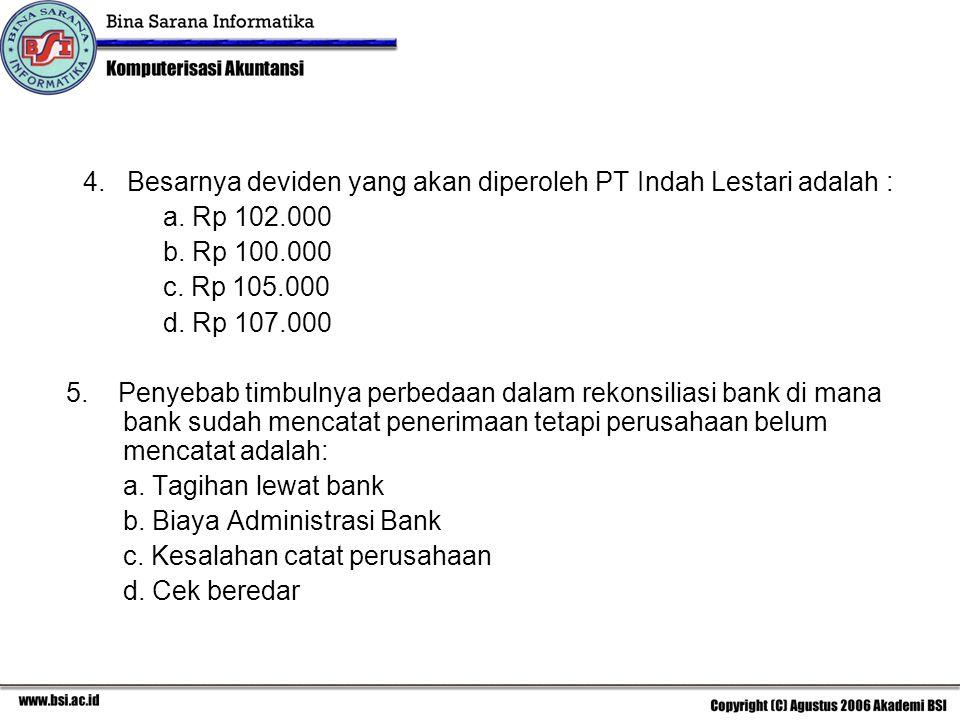 b. Biaya Administrasi Bank c. Kesalahan catat perusahaan