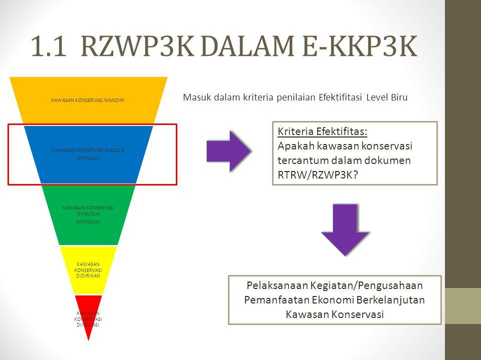 1.1 RZWP3K DALAM E-KKP3K Kriteria Efektifitas: